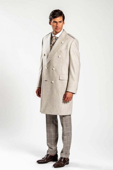 Cappotto lungo doppiopetto in lana