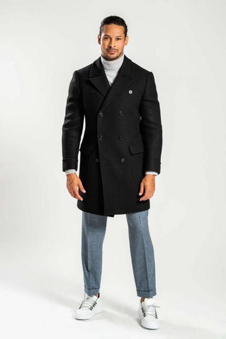 Cappotto lungo doppiopetto in misto lana