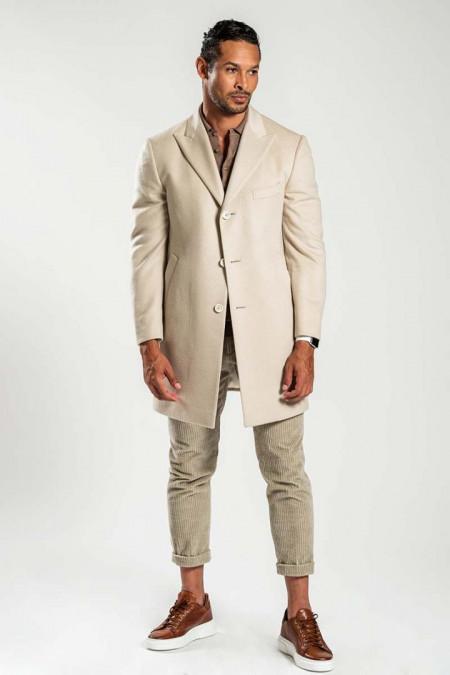 Cappotto uomo in lana beige chiaro