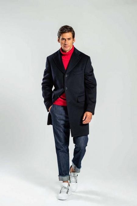 Cappotto uomo in lana blu notte
