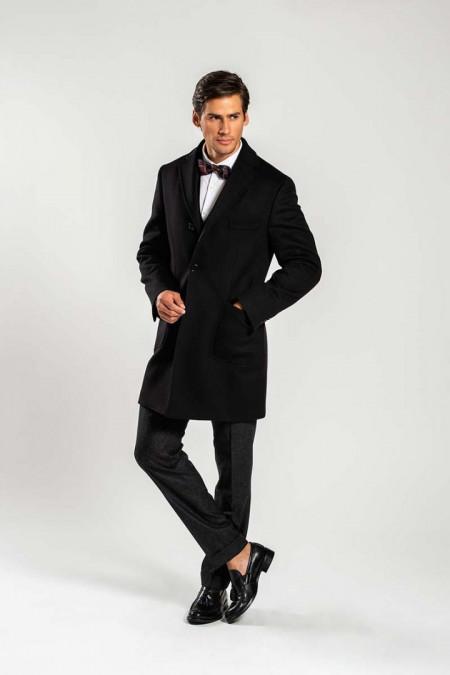 Cappotto uomo in lana nero