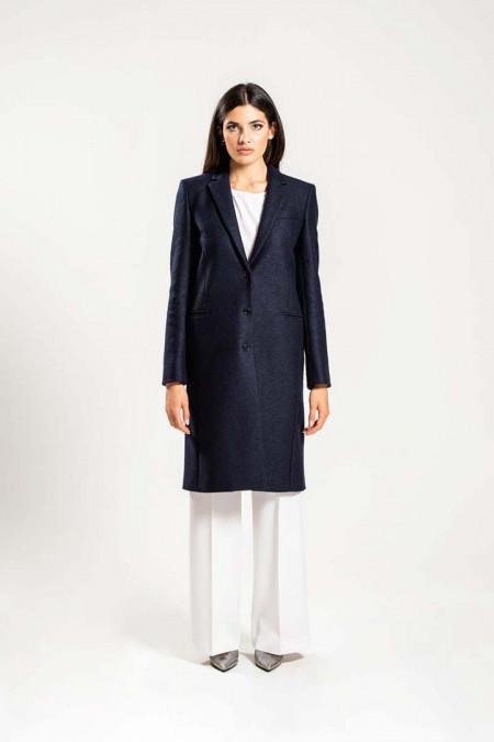 Cappotto donna in lana blu