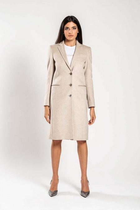 Cappotto donna in lana beige