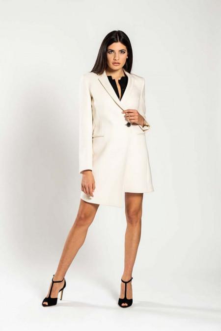 Cappotto donna taglio asimmetrico in lana bianco