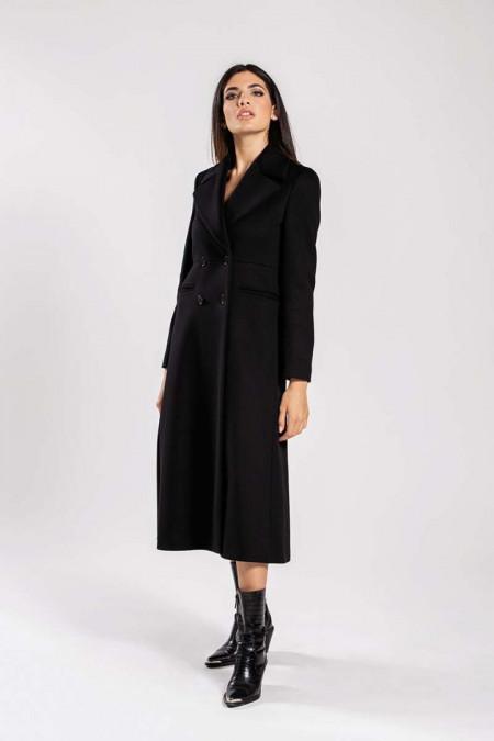 Cappotto donna lungo doppiopetto in lana nero