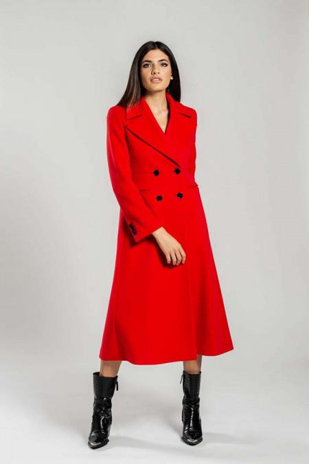 Cappotto donna lungo doppiopetto in lana rosso