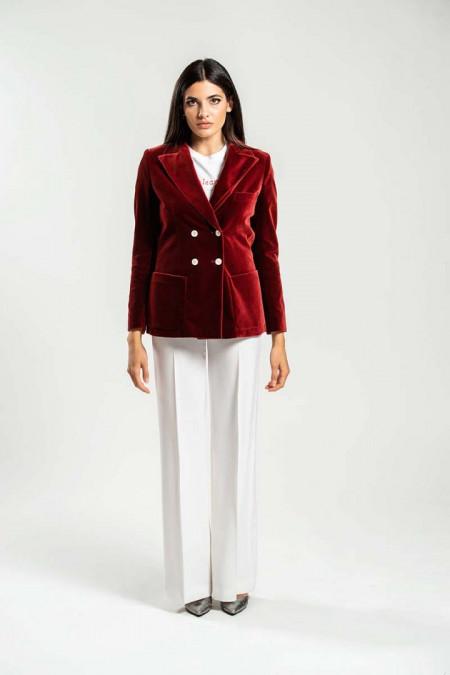 Giacca donna doppiopetto in velluto rosso