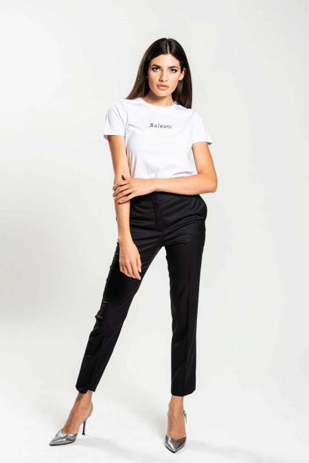 T-shirt donna con ricamo a mano nero