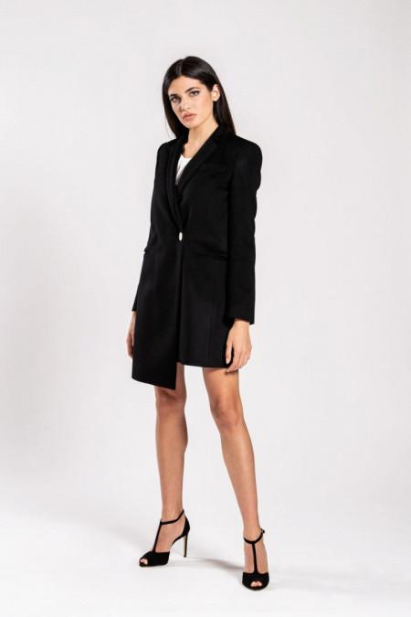 Cappotto donna taglio asimmetrico in lana nero