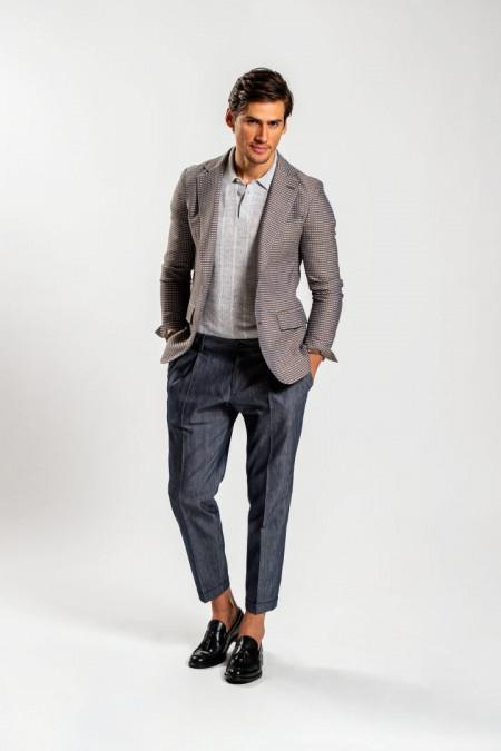 Giacca uomo decostruita in cotone blu grigio e beige