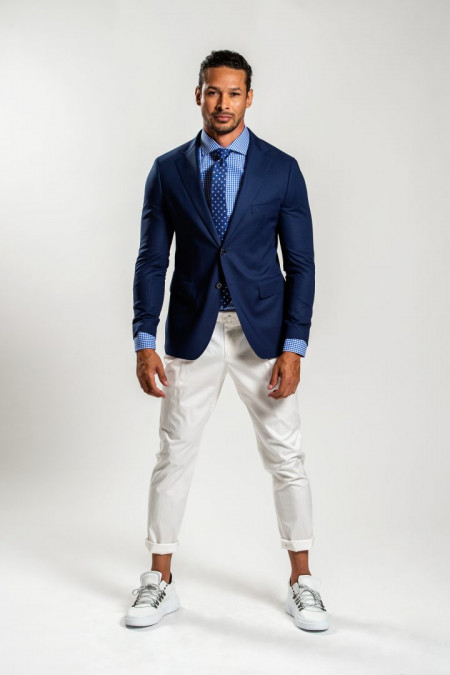 Giacca uomo in fresco lana blu