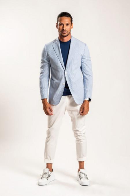 Giacca uomo in cotone a righe bianco e azzurro