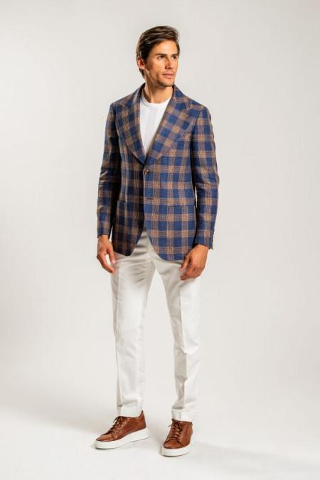 Giacca uomo in misto lino e cotone a quadri marrone e blu