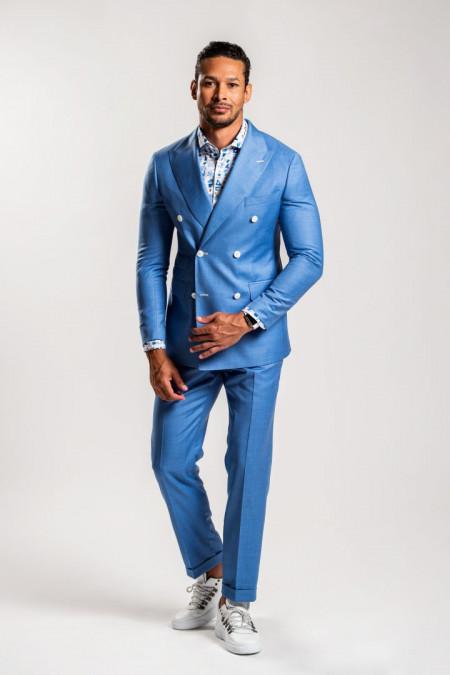Abito doppiopetto uomo in fresco lana azzurro