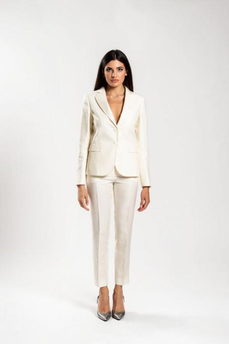 Tailleur donna in misto lino bianco panna