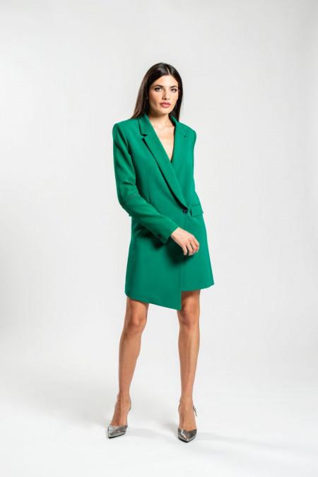Giacca lunga con taglio asimmetrico in tessuto elasticizzato verde