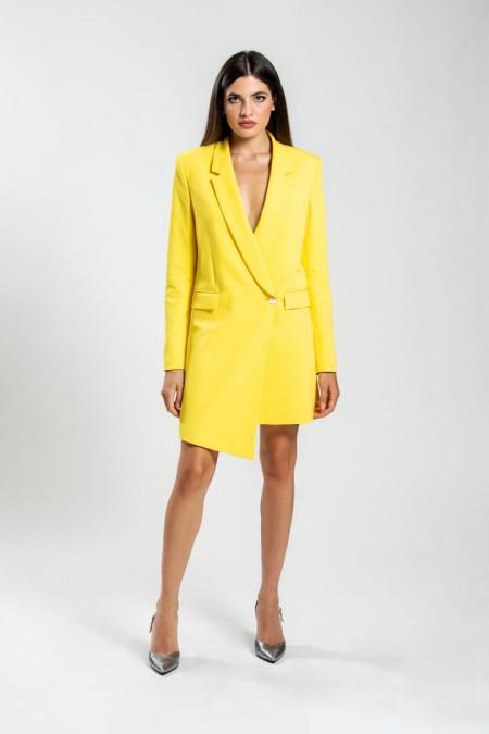 Giacca lunga con taglio asimmetrico in tessuto elasticizzato giallo